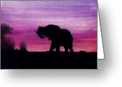Elephant Watercolor Greeting Cards - Elephant at Dusk - Silhouette Greeting Card by Michael Vigliotti