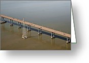 Horizontal Lines Greeting Cards - Elevated Highway over Water Greeting Card by Eddy Joaquim