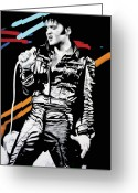 Elvis Greeting Cards - Elvis Greeting Card by Luis Ludzska