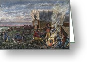 Encampment Greeting Cards - Emigrants To The West Greeting Card by Granger