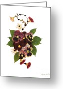 Vines Mixed Media Greeting Cards - Enchanted Garden Pansies Greeting Card by Kathie McCurdy