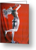 Science Fiction Sculpture Greeting Cards - Evolution of Eve figure 2 Greeting Card by Greg Coffelt