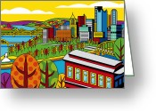 Point Park Greeting Cards - Fall from above Greeting Card by Ron Magnes