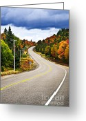 Stormy Sky Greeting Cards - Fall highway Greeting Card by Elena Elisseeva