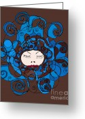 Face Drawings Greeting Cards - Fashion Illustration Greeting Card by Frank Tschakert