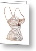 Underwear Greeting Cards - Fashion sketch Greeting Card by Frank Tschakert