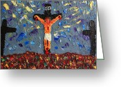  Originals Greeting Cards - Father  Forgive  Them Greeting Card by Carl Deaville