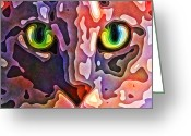 Kitty Digital Art Greeting Cards - Feline Face Abstract Greeting Card by David G Paul