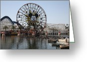 California Adventure Park Greeting Cards - Ferris Wheel and Roller Coaster - Paradise Pier - Disney California Adventure - Anaheim California - Greeting Card by Wingsdomain Art and Photography