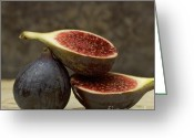 Sliced Greeting Cards - Figs Greeting Card by Bernard Jaubert