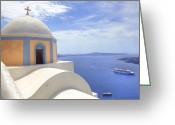 Cruise Ships Greeting Cards - Fira - Santorini Greeting Card by Joana Kruse