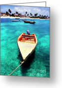 West Indies Greeting Cards - Fishing boat Island Harbour Anguilla Greeting Card by Thomas R Fletcher