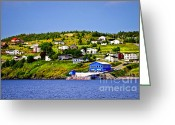 Jetty Greeting Cards - Fishing village in Newfoundland Greeting Card by Elena Elisseeva