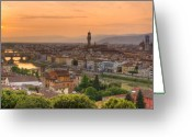 Florence Greeting Cards - Florence Sunset Greeting Card by Mick Burkey