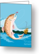 Jumping Digital Art Greeting Cards - Fly fisherman catching trout Greeting Card by Aloysius Patrimonio