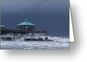 Low Country Greeting Cards - Folly Pier Greeting Card by Drew Castelhano