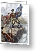 Flag Raising Greeting Cards - Fort Duquesne, 1758 Greeting Card by Granger