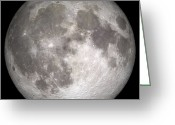 Lunar Mare Greeting Cards - Full Moon Greeting Card by Stocktrek Images