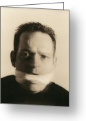 Autistic Greeting Cards - Gagged Man Greeting Card by Cristina Pedrazzini