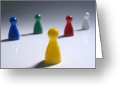 Figurine Greeting Cards - Game pieces in various colours Greeting Card by Bernard Jaubert