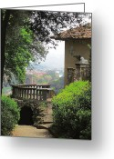 Veranda Greeting Cards - Garden View Greeting Card by Ellen Henneke
