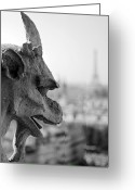 Angel Photo Greeting Cards - Gargoyle guarding the Notre Dame Basilica in Paris Greeting Card by Pierre Leclerc