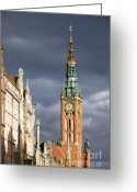 Town Hall Greeting Cards - Gdansk Old Town Greeting Card by Artur Bogacki