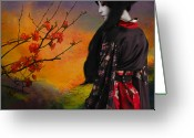 Geisha Greeting Cards - Geisha with Quince Greeting Card by Jeff Burgess
