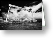 Construction Yard Greeting Cards - Giant Harland And Wolff Crane Goliath At Shipyard Titanic Quarter Queens Island Belfast Greeting Card by Joe Fox