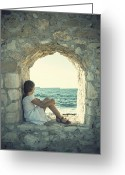 Sea View Greeting Cards - Girl At The Sea Greeting Card by Joana Kruse