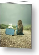 Melancholic Greeting Cards - Girl In The Dunes Greeting Card by Joana Kruse