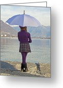 Umbrella Greeting Cards - Girl with umbrella Greeting Card by Joana Kruse