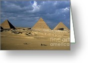 Archaeology Archeological Greeting Cards - Giza Pyramids Greeting Card by Sami Sarkis