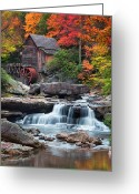 Babcock Greeting Cards - Glade Creek Grist Mill  Greeting Card by Emmanuel Panagiotakis