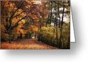 Country Lane Greeting Cards - Golden Carpet Greeting Card by Jessica Jenney