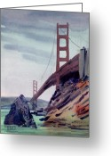 Golden Gate Painting Greeting Cards - Golden Gate Greeting Card by Donald Maier