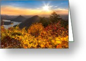 Smoky Mountains Greeting Cards - Golden Hour Greeting Card by Debra and Dave Vanderlaan