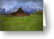 Pioneer Park Greeting Cards - Grand Teton Iconic Mormon Barn Spring Storm Clouds Greeting Card by John Stephens