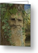 Pagan Art Greeting Cards - Greenman Greeting Card by Joyce Gibson