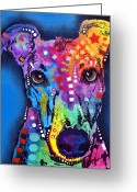 Cat Painting Greeting Cards - Greyhound Greeting Card by Dean Russo