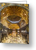 Aya Sofya Greeting Cards - Hagia Sophia Interior Greeting Card by Artur Bogacki