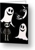 Bat Mixed Media Greeting Cards - Halloween Bats Ghosts and Cat Greeting Card by Gravityx Designs