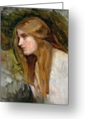 Nymphs Greeting Cards - Head of a Girl Greeting Card by John William Waterhouse
