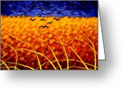 Cornfield Greeting Cards - Homage To Vincent Greeting Card by John  Nolan