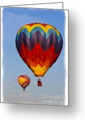 Balloon Greeting Cards - Hot air balloons Greeting Card by Elena Nosyreva