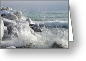 Winter Prints Greeting Cards - Ice Waves Greeting Card by Beverly Livingstone
