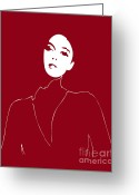 Fashion Drawings Greeting Cards - Illustration of a woman in fashion Greeting Card by Frank Tschakert