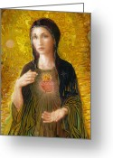 Realism Greeting Cards - Immaculate Heart of Mary Greeting Card by Smith Catholic Art