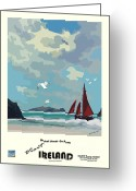 Seabirds Mixed Media Greeting Cards - Ireland  Blasket Islands Greeting Card by Joe O Donnell