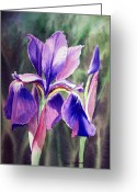 Back Porch Greeting Cards - Iris Painting Greeting Card by Irina Sztukowski